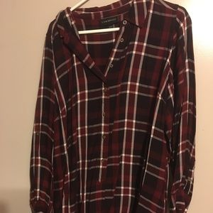 Lane Bryant red flannel button blouse